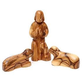 Set Nativité 12 pcs en bois d'olivier de Bethléem 36 cm s4