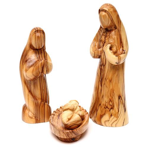 Set Nativité 12 pcs en bois d'olivier de Bethléem 36 cm 2