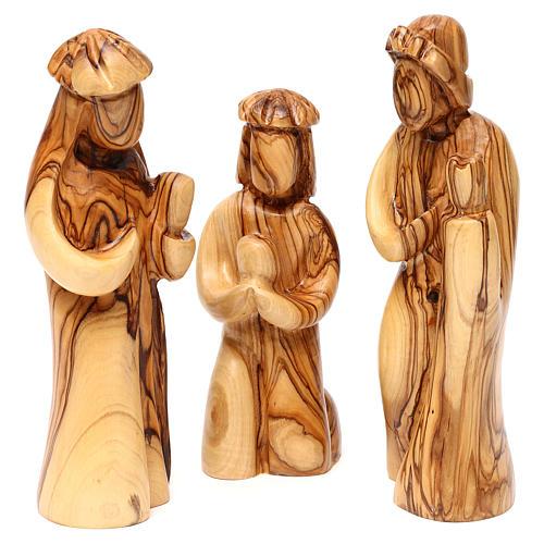 Set Nativité 12 pcs en bois d'olivier de Bethléem 36 cm 3