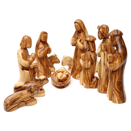 Nativity Scene in olive wood from Bethlehem 12 figurines 1