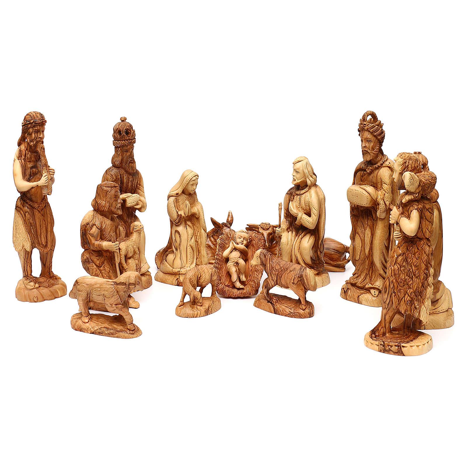 Set Nativité 14 pcs en bois d'olivier de Bethléem 35 cm 4