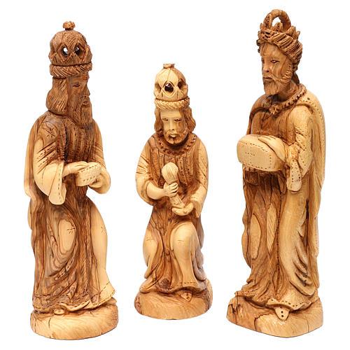Set Nativité 14 pcs en bois d'olivier de Bethléem 35 cm 3