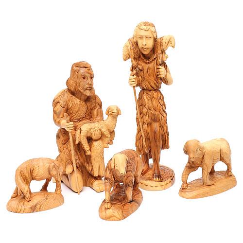 Set Natività 14 pezzi in ulivo di Betlemme 35 cm 4