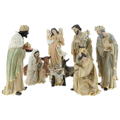 Complete Nativity scene consisting of 9 pieces 20.5 cm resin 1