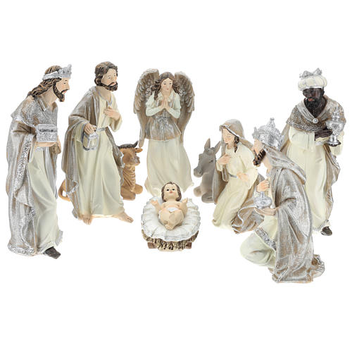 Nativity scene set 25 cm in resin, 9 pcs 1