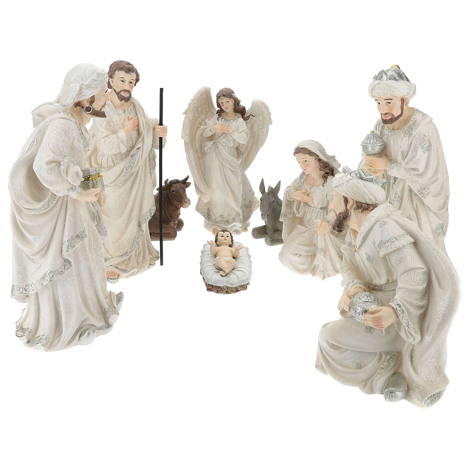 Nativity scene set 44 cm in resin, 9 pcs 4
