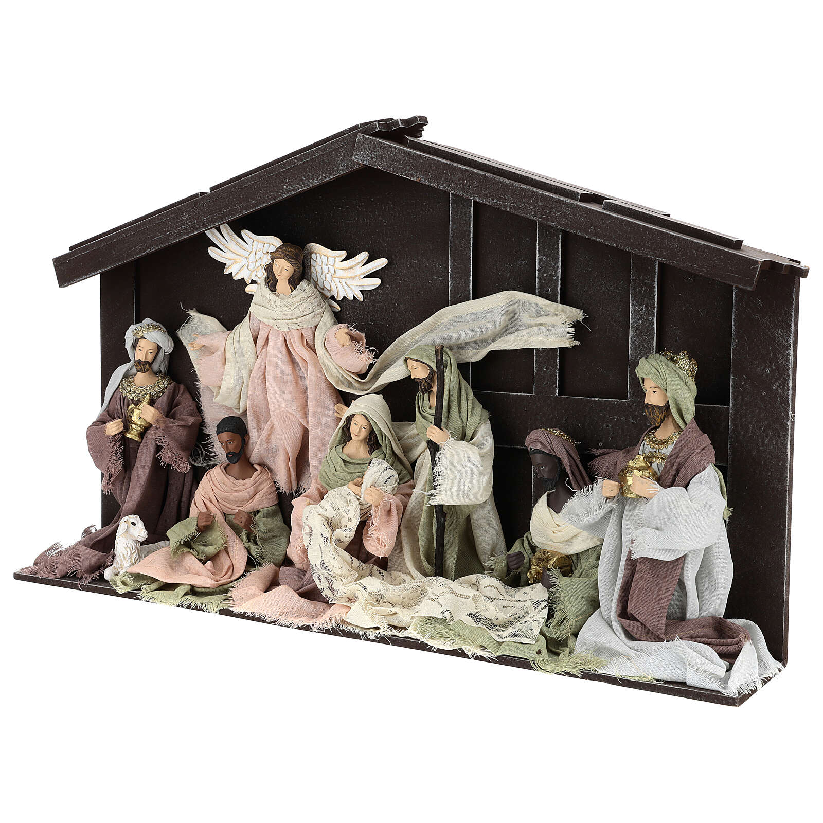 Nativity scene with 8 characters in resin and fabric 35 cm 4