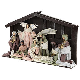 Nativity scene with 8 characters in resin and fabric 35 cm s3