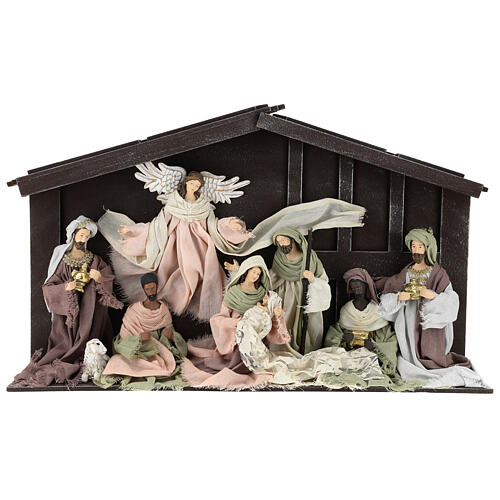 Nativity scene with 8 characters in resin and fabric 35 cm 1
