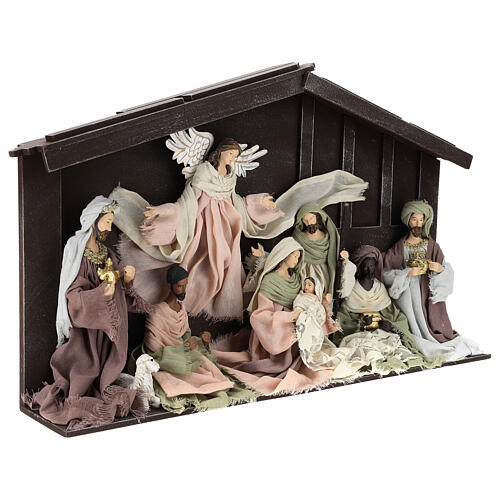 Nativity scene with 8 characters in resin and fabric 35 cm 5