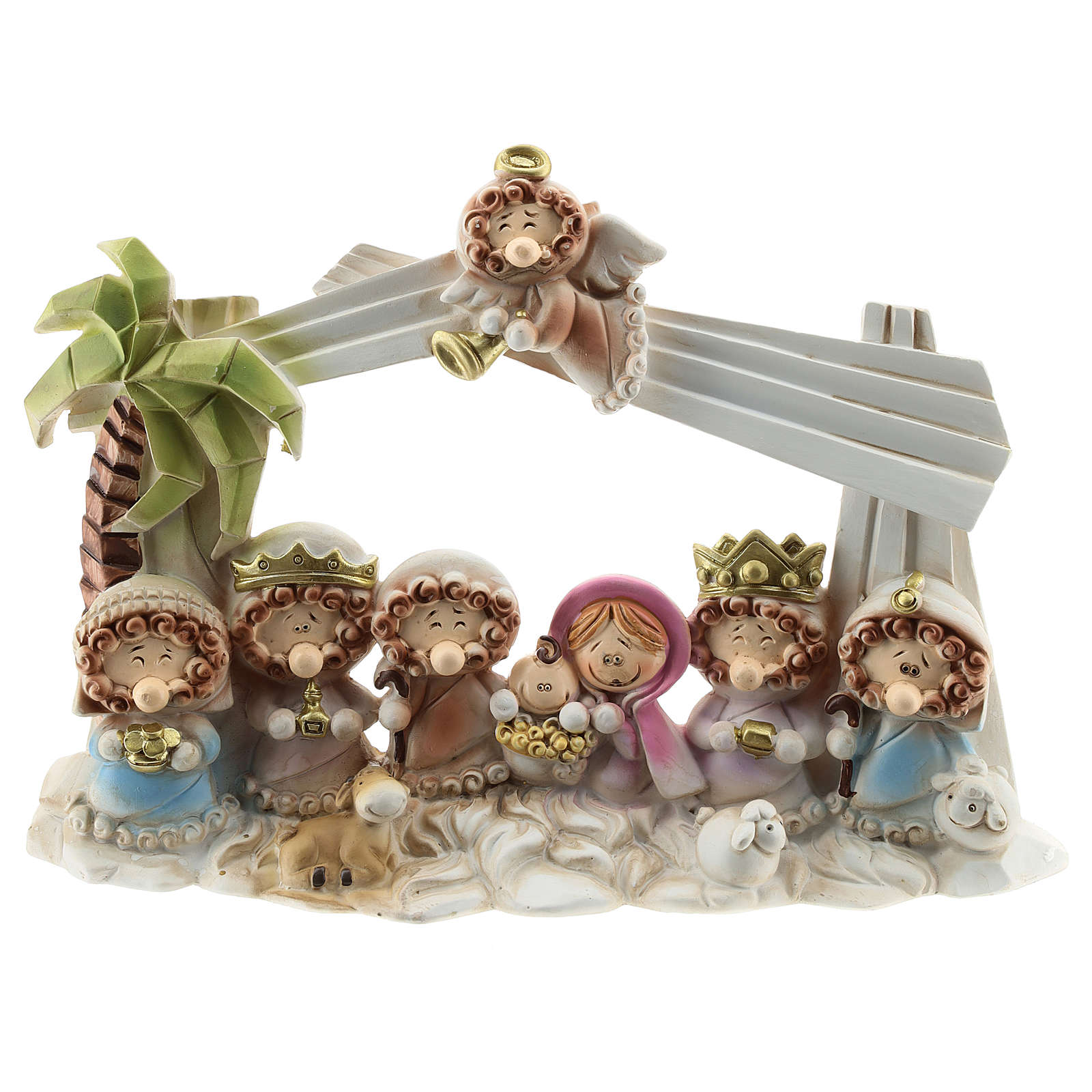 Nativity scene with star and roof 10 characters, children's line 20x15 cm 4