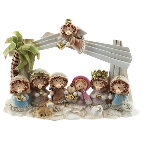 Nativity scene with star and roof 10 characters, children's line 20x15 cm 1