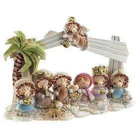 Cabaña belén resina 10 personajes 20x15 cm línea niños s3