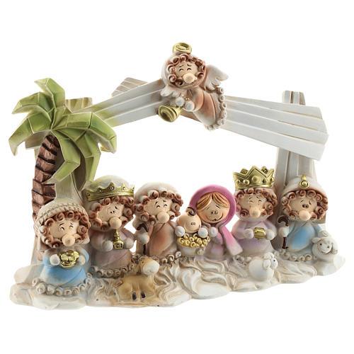 Cabaña belén resina 10 personajes 20x15 cm línea niños 3