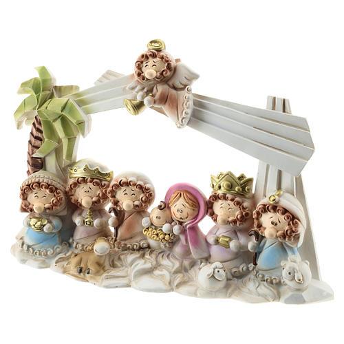 Capanna presepe resina 10 personaggi 20x15 cm linea bambini 2