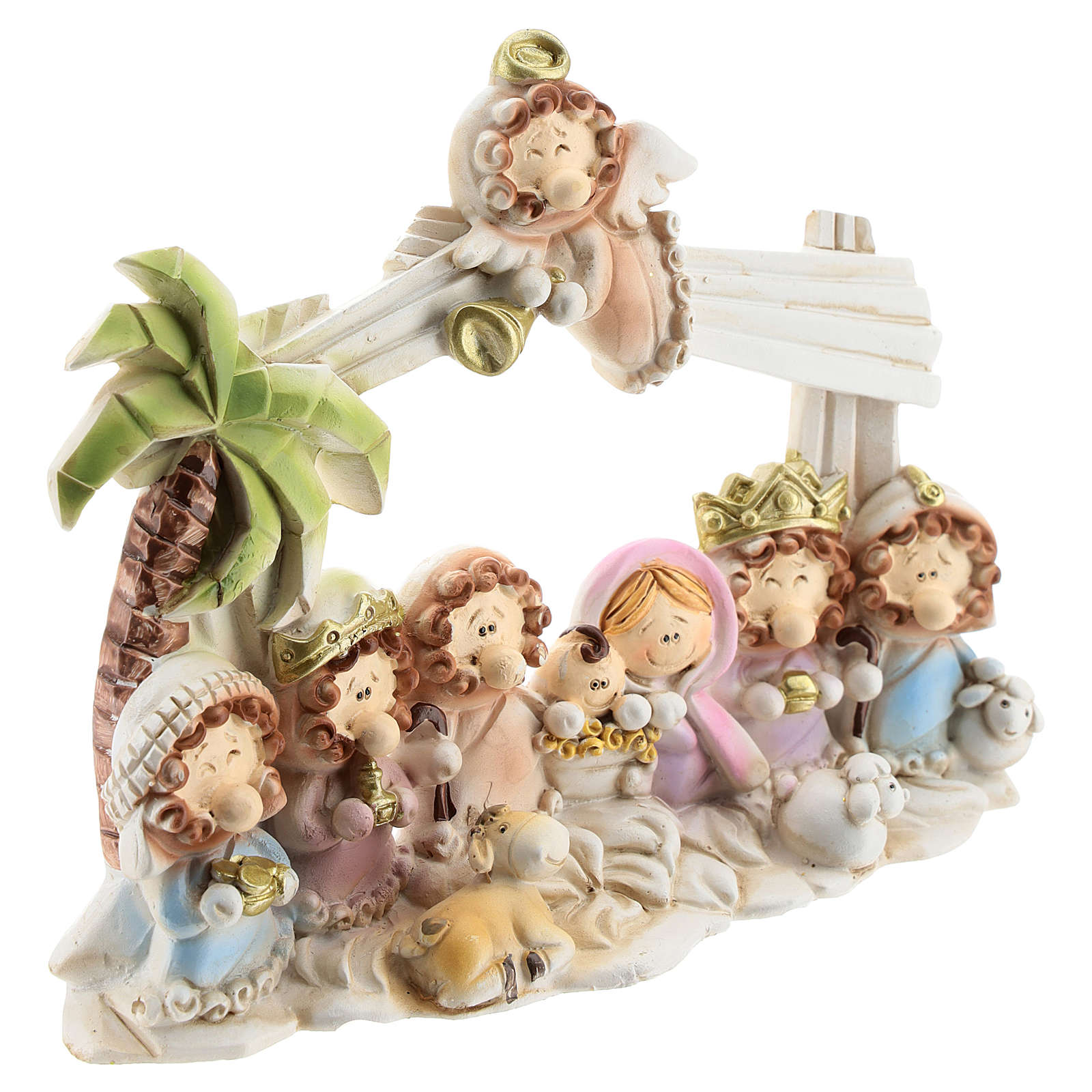 Nativity scene with hut made of resin with 10 characters 16x12 cm, children's line 4