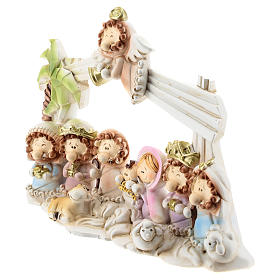 Nativity scene with hut made of resin with 10 characters 16x12 cm, children's line s2