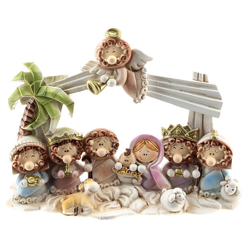Nativity scene with hut made of resin with 10 characters 16x12 cm, children's line 1
