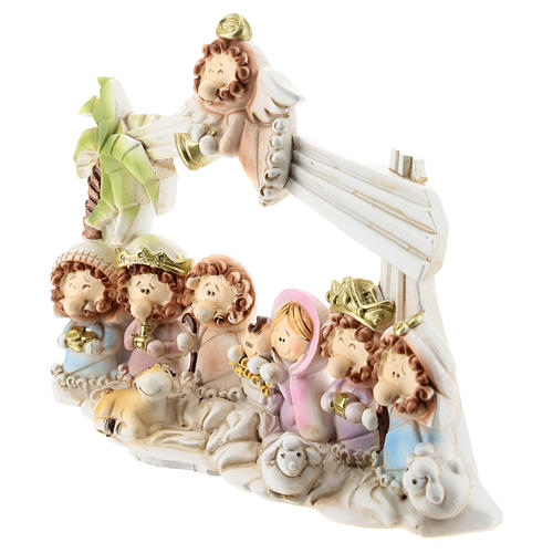 Nativity scene with hut made of resin with 10 characters 16x12 cm, children's line 2