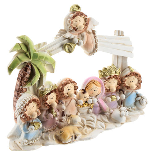 Nativity scene with hut made of resin with 10 characters 16x12 cm, children's line 3