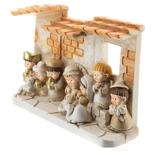 Nativity scene with hut made of resin with 10 characters 15x10 cm, children's line 2