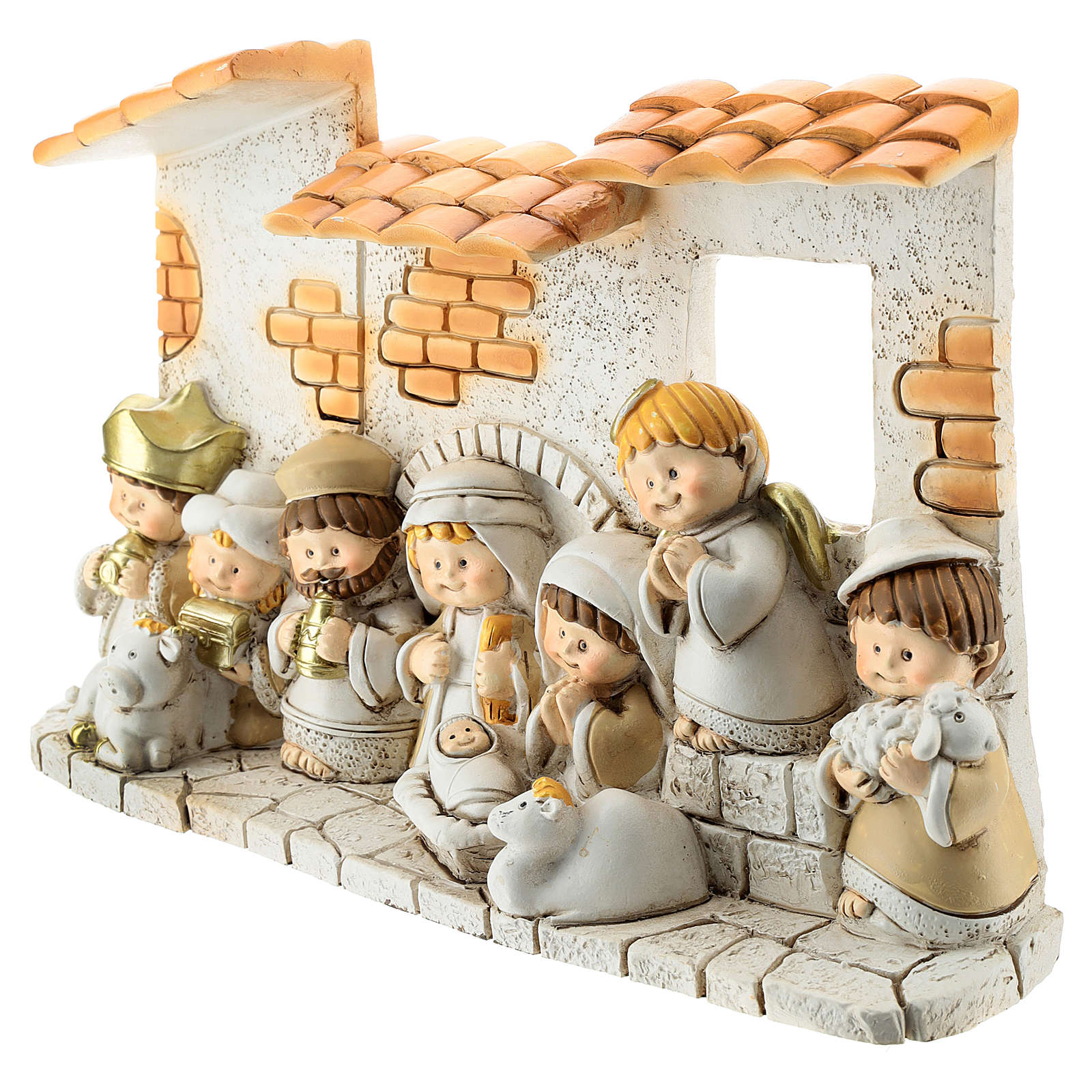 Nativity scene with hut made of resin with 10 characters 10x15 cm, children's line 4