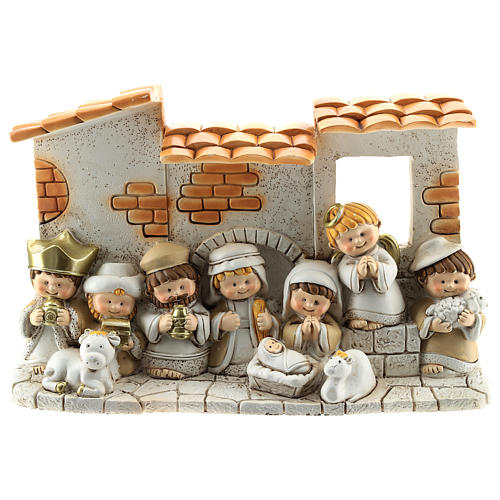 Nativity scene with hut made of resin with 10 characters 10x15 cm, children's line 1