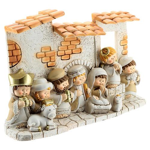 Crèche avec cabane résine 10 santons 10x15 cm gamme enfants 3