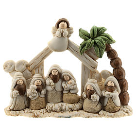 Nativity scene with hut made of resin with 8 characters 15x10, children's line s1