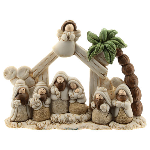 Nativity scene with hut made of resin with 8 characters 15x10, children's line 1