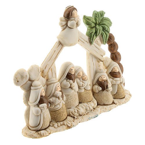 Nativity scene with hut made of resin with 8 characters 15x10, children's line 3