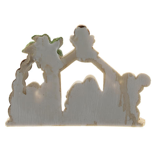 Nativity scene with hut made of resin with 8 characters 15x10, children's line 4