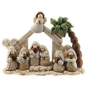 Belén cabaña resina 8 personajes 15x10 cm línea niños s1