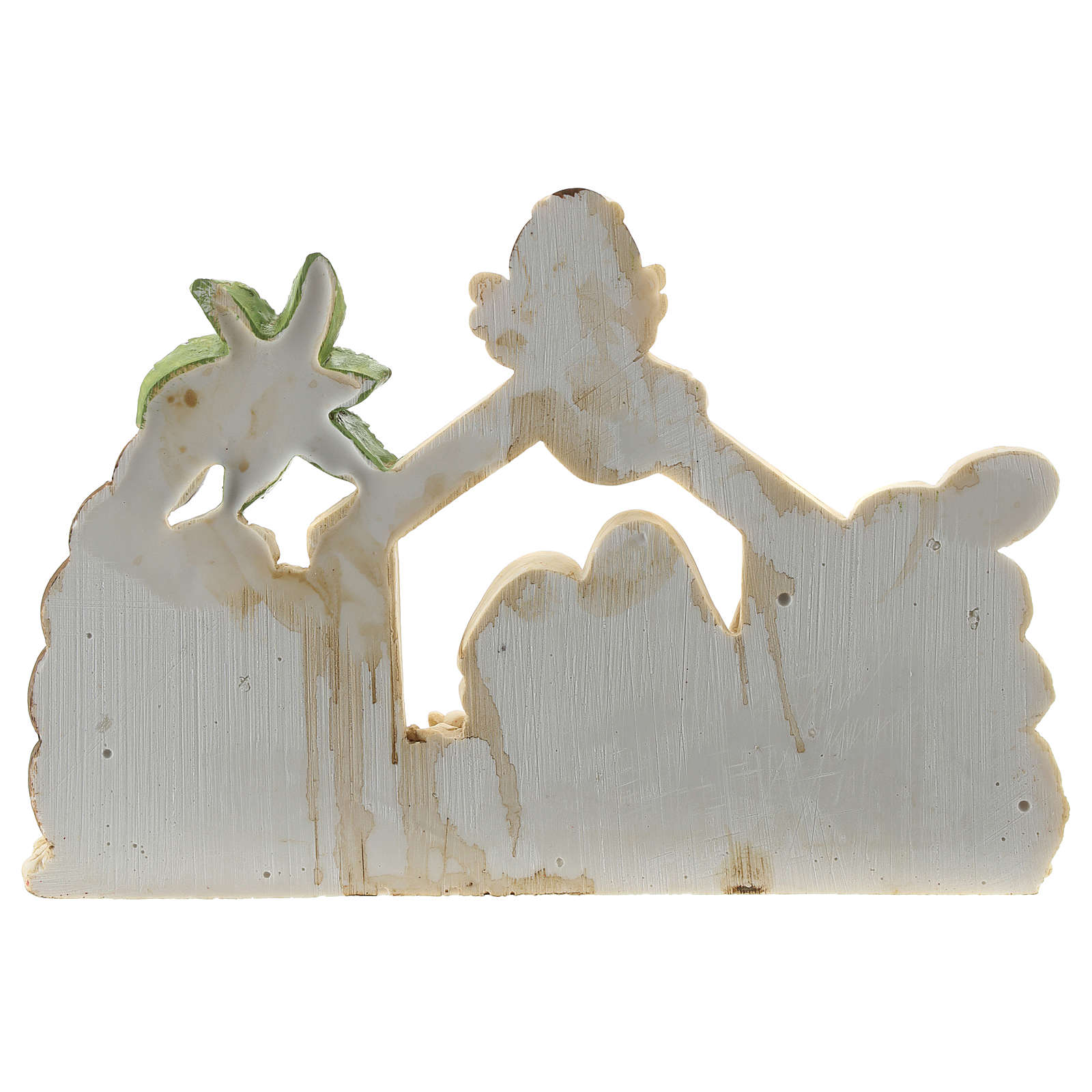 Nativity scene with hut made of resin with 9 characters 20x15 cm, children's line 4