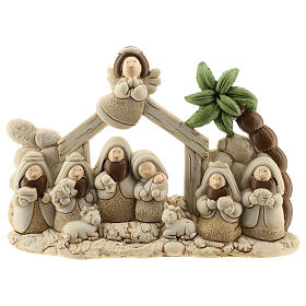 Nativity scene with hut made of resin with 9 characters 20x15 cm, children's line s1