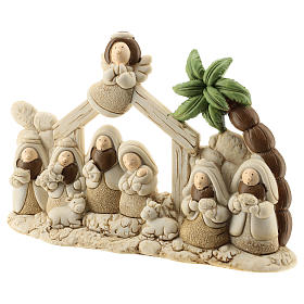 Nativity scene with hut made of resin with 9 characters 20x15 cm, children's line s2