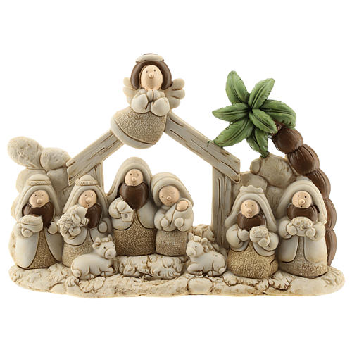 Nativity scene with hut made of resin with 9 characters 20x15 cm, children's line 1