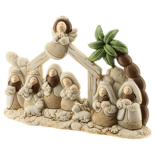 Nativity scene with hut made of resin with 9 characters 20x15 cm, children's line 2