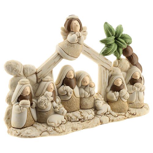 Nativity scene with hut made of resin with 9 characters 20x15 cm, children's line 3