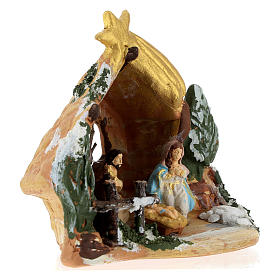 Nativity scene with painted shack and star in Deruta terracotta s4