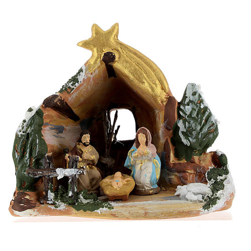 Nativity scene with painted shack and star in Deruta terracotta 1