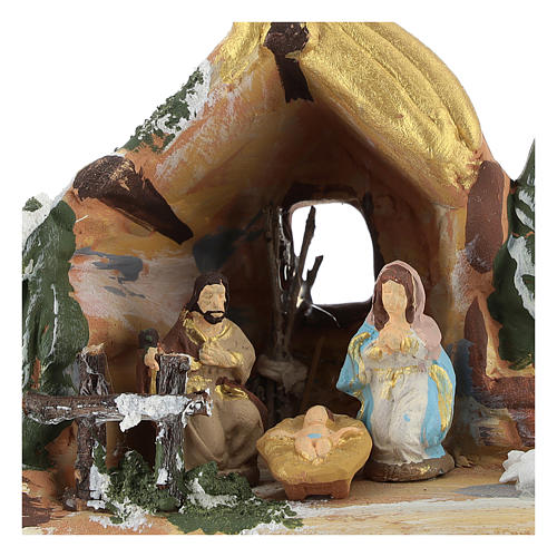 Nativity scene with painted shack and star in Deruta terracotta 2