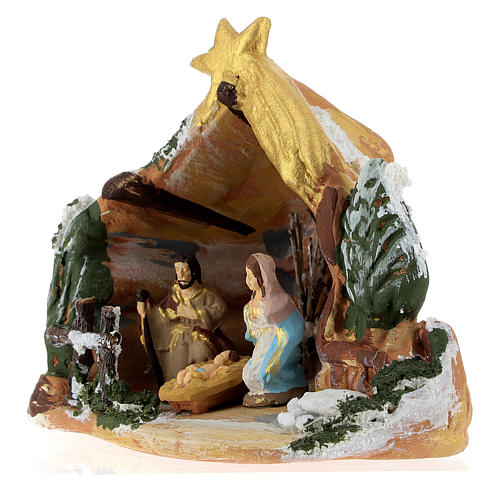Nativity scene with painted shack and star in Deruta terracotta 3