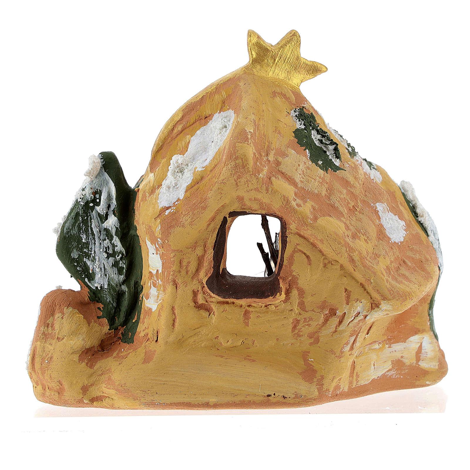 Capanna in terracotta colorata con presepe 4 cm Deruta e cometa 4