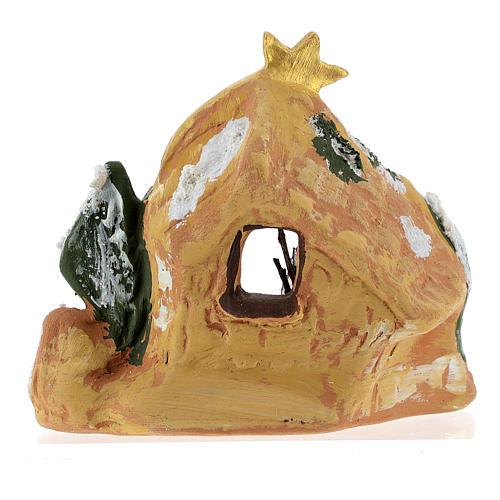 Capanna in terracotta colorata con presepe 4 cm Deruta e cometa 5