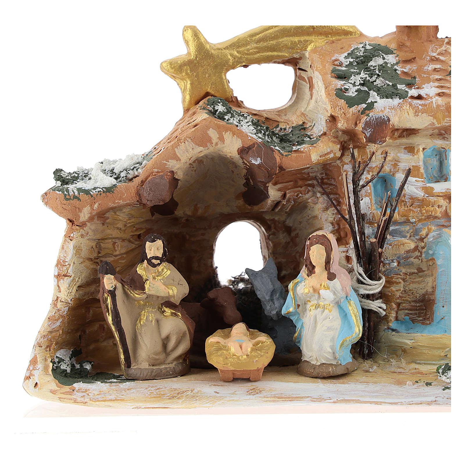 Nativity scene with shack and star in Deruta terracotta 4