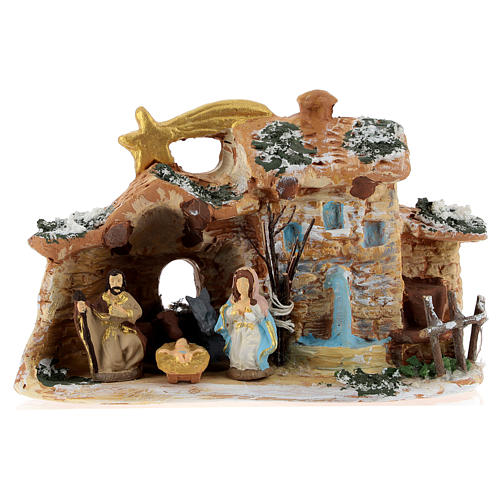 Nativity scene with shack and star in Deruta terracotta 1