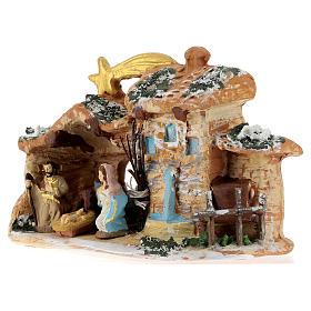 Cabaña de terracota coloreada con belén 4 cm Deruta 5 piezas y cometa s3