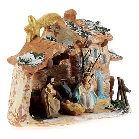 Cabaña de terracota coloreada con belén 4 cm Deruta 5 piezas y cometa s4