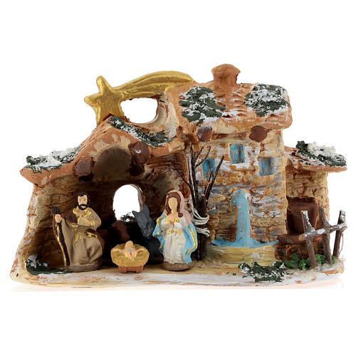 Cabaña de terracota coloreada con belén 4 cm Deruta 5 piezas y cometa 1